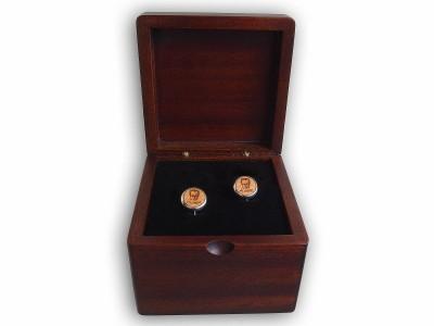 Ataturk Themed Silver Cufflink in Compass Decorated Box