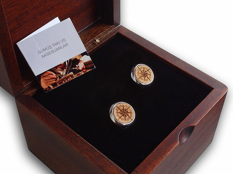 Compass Themed Silver Cufflink in Compass Themed Box