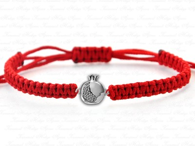 Pomegranate Themed Unisex Silver Bracelet