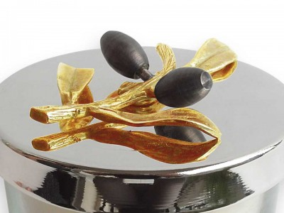 Pomegranate Design Gold and Silver Plated Candle Holder