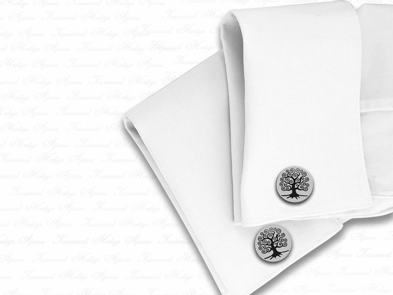 Life Tree Themed Silver Cufflink