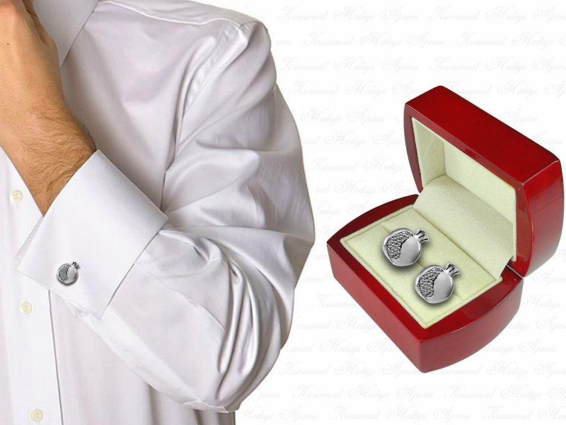 Pomegranate Design Silver Cufflinks