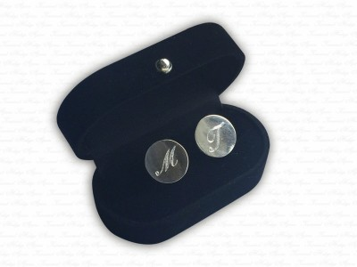 Silver Cufflink with Letters