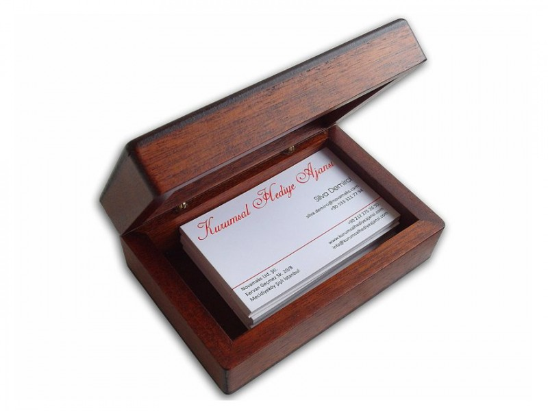 Solid Wooden Desktop Card Holder