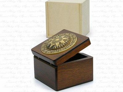 Solid Wooden Box with Compass