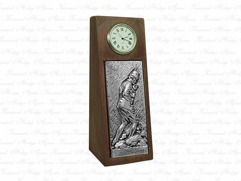Ataturk Solid Wooden Desktop Clock
