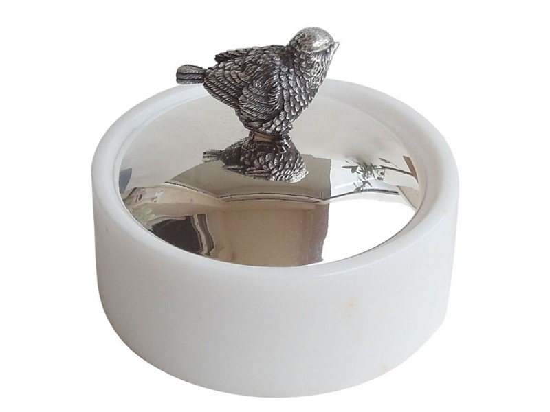 Marble Bowl with Silver Plated Bird Cover