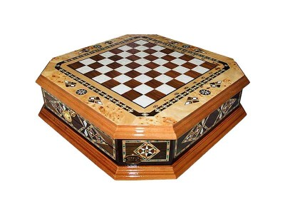 Handcrafted Octagon Design Chess Set with Drawer