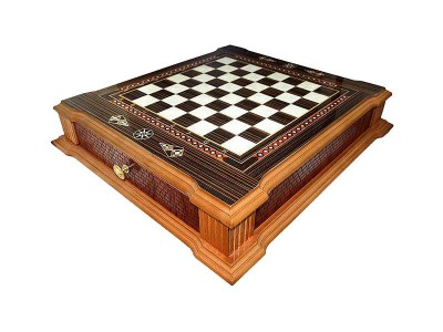 Handcrafted Castle Design Chess Set with Drawer