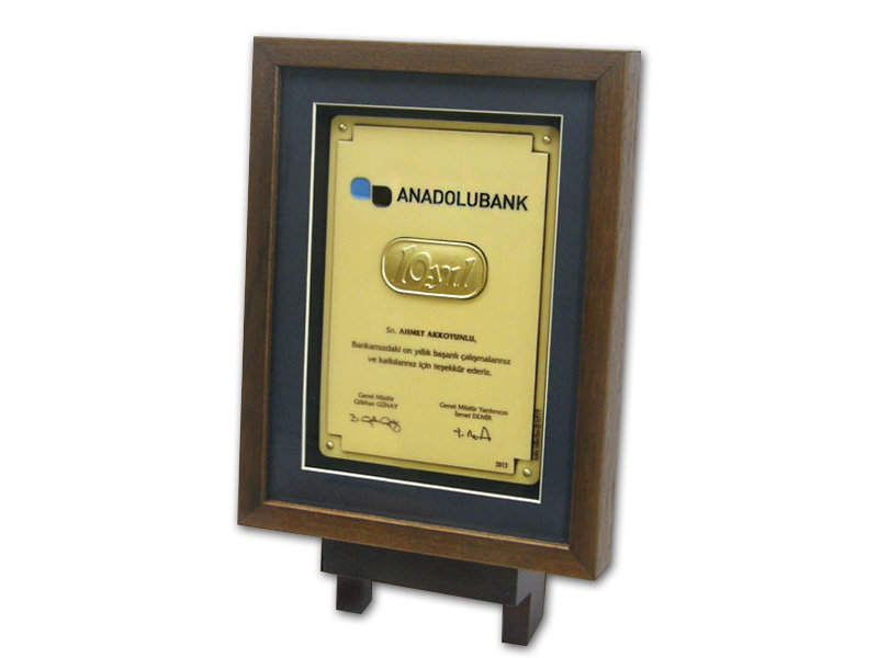 Custom Design Plaque Made for Anadolubank
