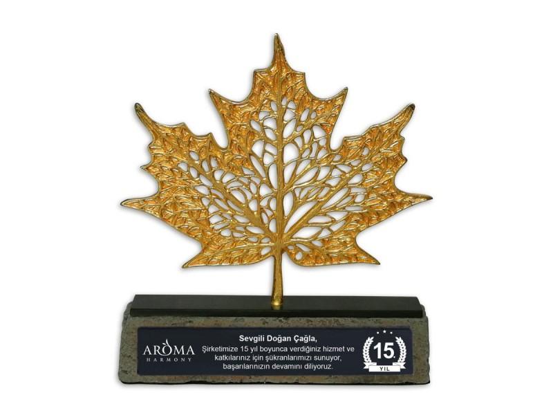 Çınar Yaprağı Dekoratif Plaket Gold (Küçük)