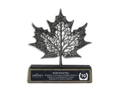 Çınar Yaprağı Dekoratif Plaket Silver (Küçük)