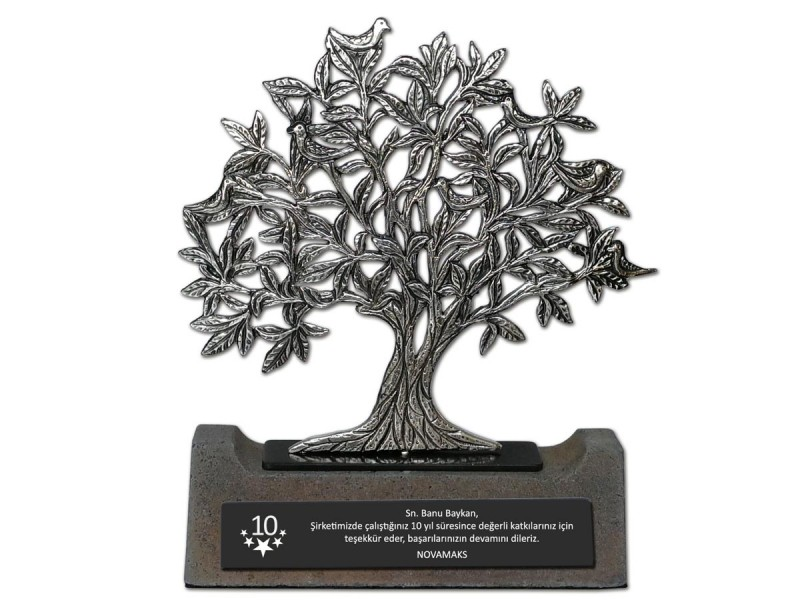 Kuşlu Hayat Ağacı Dekoratif Plaket (Silver)