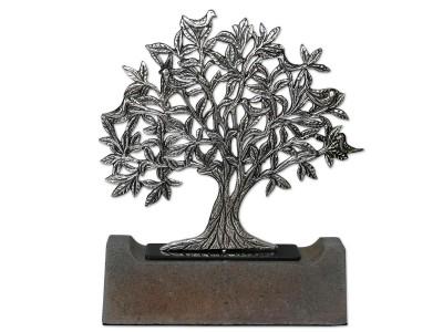 Kuşlu Hayat Ağacı Dekoratif Obje (Silver)