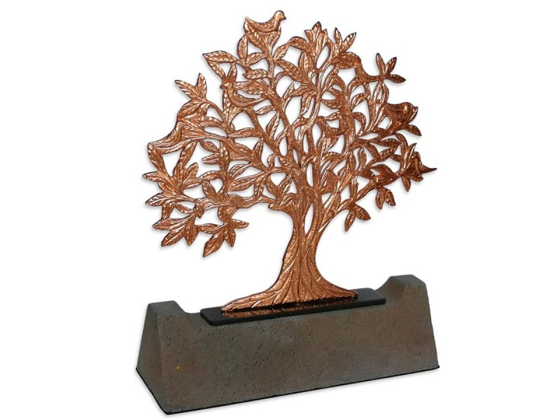Kuşlu Hayat Ağacı Dekoratif Plaket (Bronz)