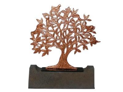 Kuşlu Hayat Ağacı Dekoratif Obje (Bronz)