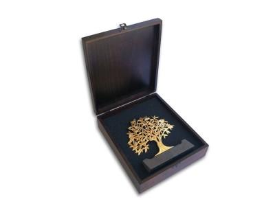 Kuşlu Hayat Ağacı Dekoratif Plaket (Gold)