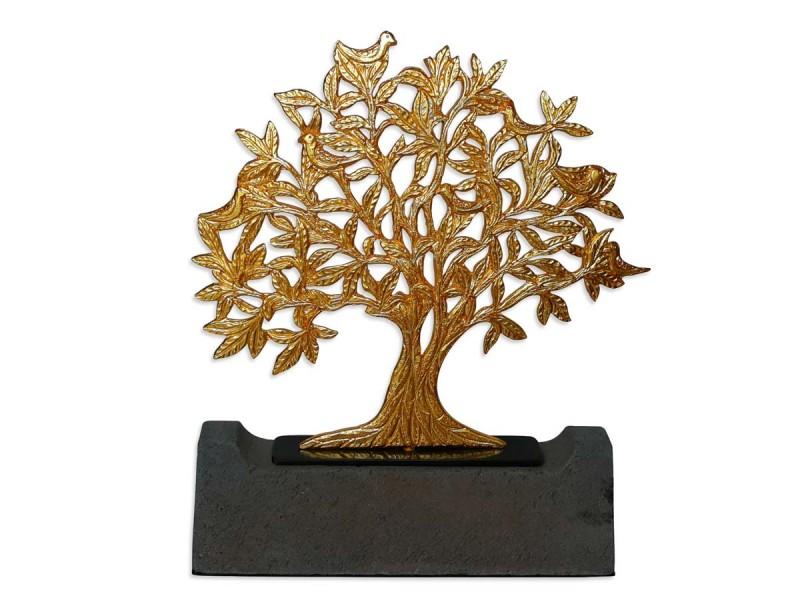 Kuşlu Hayat Ağacı Dekoratif Objet (Gold)