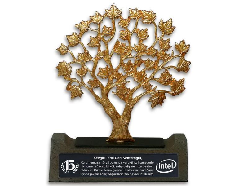 Çınar Ağacı Dekoratif Plaket (Gold)